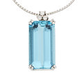 Estate Jewelry:Pendants and Lockets, Aquamarine, Diamond, White Gold Pendant-Necklace, H. Stern . ...