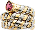 Estate Jewelry:Rings, Pink Tourmaline, Gold, Stainless Steel Ring, Bvlgari . ...
