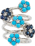 Estate Jewelry:Rings, Turquoise, Sapphire, Diamond, White Gold Ring. ...