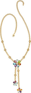 Estate Jewelry:Necklaces, Multi-Stone, Diamond, Gold Necklace. ...