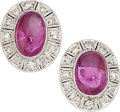 Estate Jewelry:Earrings, Ruby, Diamond, White Gold Earrings . ...