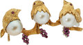 Estate Jewelry:Brooches - Pins, Cultured Pearl, Ruby, Gold Brooch. ... (Total: 0 Items)