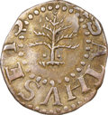 1652 3PENCE Pine Tree Threepence, Pellets at Trunk, Noe-34, W-630, Salmon 1-A, R.4, XF45 NGC. ...(PCGS# 45365)