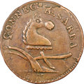 1787 NJERSY New Jersey Copper, Camel Head, Struck Over a Connecticut Copper, Maris 56-n, W-5310, R.1, XF45 NGC. ...(PCGS...