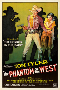 "The Phantom of the West (Mascot, 1931). One Sheet (27"" X 41"") Chapter 3 -- ""The Horror in the Dark.""..."