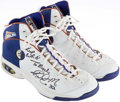 Basketball Collectibles:Others, 2001 Karl Malone Game Worn, Signed Utah Jazz Sneakers....