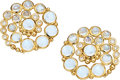Estate Jewelry:Earrings, Diamond, Moonstone, Gold Earrings, Temple St. Clair . ...