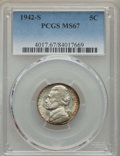 Jefferson Nickels, 1942-S 5C MS67 PCGS. PCGS Population: (111/0). NGC Census: (1337/4). Mintage 32,900,000. ...