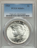 Peace Dollars: , 1923 $1 MS65+ PCGS. PCGS Population: (17423/2403 and 252/199+). NGCCensus: (37456/3308 and 297/69+). CDN: $97 Whsle. Bid f...