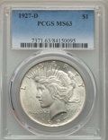 Peace Dollars: , 1927-D $1 MS63 PCGS. PCGS Population: (1629/1463). NGC Census:(845/836). CDN: $350 Whsle. Bid for problem-free NGC/PCGS MS...