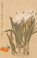 Asian:Chinese, A Chinese Ink and Watercolor Depicting Flowers. 21-3/4 x 14 inches(55.2 x 35.6 cm) (image). ...