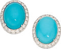 Estate Jewelry:Earrings, Turquoise, Diamond, White Gold Earrings, Pejmani. ...