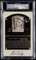 Autographs:Post Cards, 1956 Bob Feller Signed Artvue Hall of Fame Plaque Post Card PSA/DNAAuthentic....