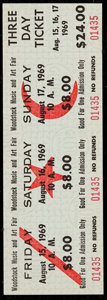 Non-Sport Cards:Singles (Pre-1950), 1969 Woodstock Music and Art Fair: Unused Three Day Ticket. ...