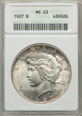 Peace Dollars, 1927 $1 MS63 ANACS. NGC Census: (2005/1244). PCGS Population:(3060/2616). CDN: $145 Whsle. Bid for problem-free NGC/PCGS M...