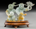 Asian:Chinese, A Chinese Carved Jade Figural Group of He-He Twins on Stand. 2-5/8inches high x 3-7/8 inches wide (6.7 x 9.8 cm). ...