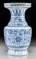 Asian:Chinese, A Chinese Blue and White Porcelain Vase, Qing Dynasty, 18thcentury. 13-7/8 inches high (35.2 cm). PROVENANCE:. The Collec...