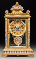 Decorative Arts, French:Other , A French Cloisonné and Champlevé Enamel Mantel Clock for theChinese Market, early 20th century. Marks to face: J ULLMAN&...