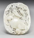 Asian:Chinese, A Chinese Openwork White Jade Plaque Depicting a Crane Among LotusFlowers, Qing Dynasty. 3-1/4 inches high x 4 inches wide ...