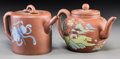 Asian:Chinese, Two Chinese Enameled Yixing Pottery Teapots, late Qing Dynasty.Marks: Seal marks to the undersides. 4-3/4 inches high (12.1...(Total: 2 Items)