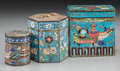 Asian:Chinese, Three Chinese Cloisonné and Enameled Opium Boxes, late QingDynasty. 3-1/8 h x 3 w x 1-5/8 d inches (7.9 x 7.6 x 4.1 cm) (la...(Total: 3 Items)