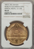Medals and Tokens, 1893 World's Columbian Exposition, Official Medal, Large Letters, HK-154, MS64 NGC. /0)....