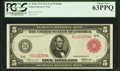 Fr. 842b $5 1914 Red Seal Federal Reserve Note PCGS Choice New 63PPQ