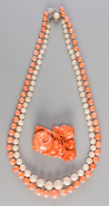 Asian:Chinese, Three-Pieces of Chinese Coral Jewelry, early 20th century. 20-1/4inches long (51.4 cm) (longer, necklace). Special Note... (Total: 3Items)
