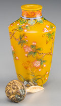 Asian:Chinese, A Chinese Enameled Yellow Glass Snuff Bottle. Marks: Partiallyeffaced four-character Qianlong mark. 2-5/8 inches high (6.7 ...