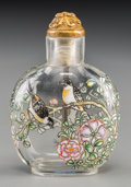 Asian:Chinese, A Chinese Clear and Enameled Glass Snuff Bottle. Marks:Four-character Qianlong mark. 2-1/4 inches high (5.7 cm). ...