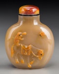 """Asian:Chinese, A Chinese Carved Suzhou Agate Snuff Bottle with Cameo """"Ma ShangFeng Hou"""" Allegory, Qing Dynasty. 2-3/8 inches high (6.0 cm)..."""