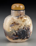 Asian:Chinese, A Chinese Carved Suzhou Agate Snuff Bottle. 2-5/8 inches high (6.7cm). ...