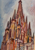 Fine Art - Painting, American:Contemporary   (1950 to present)  , Raúl Anguiano (Mexican/American, 1915-2006). Iglesia, 1967.Oil on canvas. 26 x 18 inches (66.0 x 45.7 cm). Signed and d...
