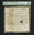 Colonial Notes:Massachusetts, Massachusetts Treasury Certificate £33 13s, 2d January 1, 1782Anderson MA-30 PMG Choice Extremely Fine 45 EPQ.. ...