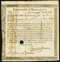 Colonial Notes:Massachusetts, Massachusetts Six Percent Treasury Certificate £7 17s 1d January 1,1782 Anderson MA-31 Very Fine, HOC.. ...