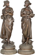 Decorative Arts, French:Other , A Pair of Large Bronzed Metal Figures After Pierre Louis Detrier:Allegory of Summer and Autumn, early 20th century... (Total:2 Items)