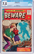 Golden Age (1938-1955):Horror, Beware #15 (Trojan/Prime, 1955) CGC VF- 7.5 White pages....