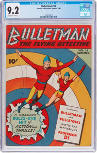 Bulletman #15 (Fawcett Publications, 1946) CGC NM- 9.2 Off-white to white pages