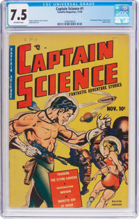 Captain Science #1 (Youthful Magazines, 1950) CGC VF- 7.5 Off-white pages