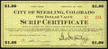 Obsoletes By State:Colorado, Sterling, CO- City of Sterling Scrip Certificate $1 Feb. 20, 1933 Shafer CO350-1b. ...