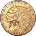 Indian Quarter Eagles, 1911-D $2 1/2 MS62 NGC....