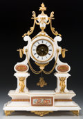 Timepieces:Clocks, A Louis XVI-Style Gilt Bronze and Marble Clock with Glass Dome, 19th century. Marks to movement: CHAPPEMENT BREVET, (eag... (Total: 2 Items)