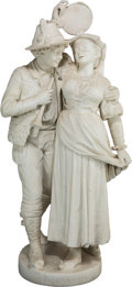 Fine Art - Sculpture, European:Antique (Pre 1900), Cesare Lapini (Italian, 1848-1893). Canzone Amorosa, 1887.Marble. 39-1/2 inches (100.3 cm) high. Inscribed on base:A...