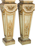 Furniture : French, A Pair of Louis XVI-Style Creme Peinte and Giltwood Pedestals, 19thcentury. 50-1/2 inches high (128.3 cm). ... (Total: 2 Items)