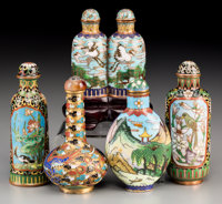 A Group of Five Chinese Cloisonné Snuff Bottles, most are Late Qing Dynasty 3-1/4 inches high (8.3 cm) (tallest)