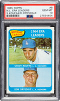 Baseball Cards:Singles (1960-1969), 1965 Topps N.L. ERA Leaders - Koufax/Drysdale #8 PSA Gem Mint10....