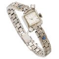 Estate Jewelry:Watches, Lady's Diamond, Synthetic Sapphire, White Gold Watch. ...