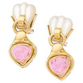 Estate Jewelry:Earrings, Pink Tourmaline, Mother-of-Pearl, Gold Earrings. ...