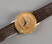 A Bueche Girod Wrist Watch Mounted with 1894 $10 Gold Liberty Head Coin Marks: Bueche Girod 8-3/4 in