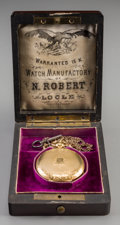 Clocks & Mechanical:Other , A Le Comte & Co. 18K and 14K Gold Key-Wound Pocket Watch and Case Retailed by N. Robert Locle, circa 1875. Marks to interior...